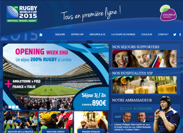 Couleur met en ligne un mini-site dédié à ses offres de séjours pour la Coupe du Monde 2015 de rugby - Capture d'écran
