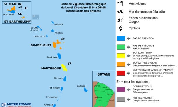 La carte de vigilance sur les Antilles mise à jour par Météo France lundi 13 octobre 2014 à 06h08 - DR : Météo France