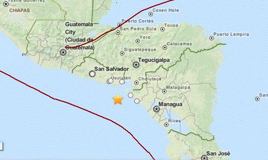L'épicentre du séisme est situé au large des côtes du Nicaragua et du Salvador - DR : USGS