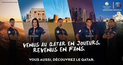QTA déploie une campagne d'affichage qui met en scène des handballeurs et des footballeurs du PSG devant des sites touristiques du Qatar, à Paris, depuis septembre 2014 - DR