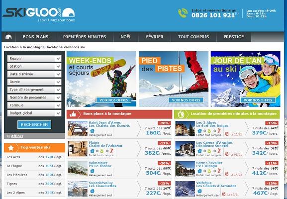 Skigloo.com propose des séjours à la montagne, en France, à petits prix - Capture d'écran