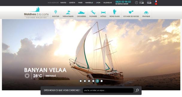 """Le portail """"Maldives à la Carte"""" fait désormais la part belle aux visuels - Capture d'écran"""