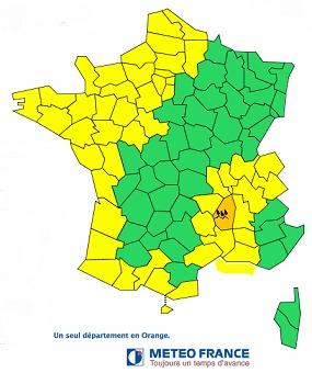 Météo France émet une vigilance orange pour les fortes pluies qui s'abattent sur l'Ardèche ce lundi 3 novembre 2014 - DR : Météo France