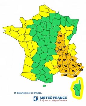 Les 15 départements placés en vigilance orange sont situés dans le Sud-Est et l'Est de la France - DR : Météo France