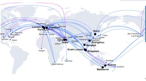 La carte du réseau des 143 Airbus A-380 opérés à ce jour. DR Airbus.