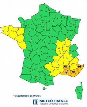 Les Bouches-du-Rhône, le Vaucluse, le Var et les Alpes-Maritimes en vigilance orange - DR : Météo France