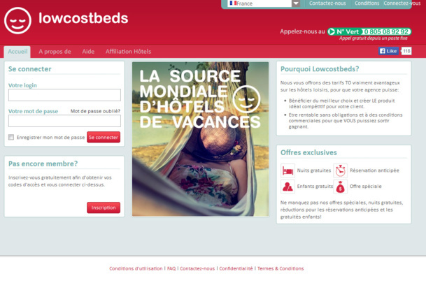 Hotels at TO rates… Lowcostbeds wants to facilitate the job of French agencies!
