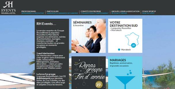 Rh-Events.com recense les offres de Roussillhôtel pour les événements d'entreprise et de particuliers - Capture d'écran