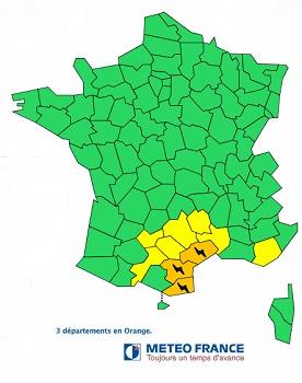 Les Pyrénées-Orientales, l'Aude et l'Hérault sont en vigilance orange aux orages - DR : Météo France