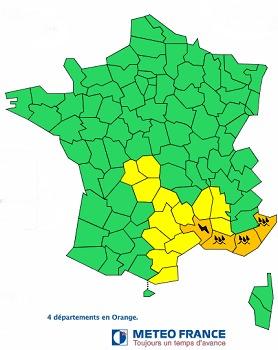 Le Gard, les Bouches-du-Rhônes, le Var et les Alpes-Maritimes sont placés en vigilance orange ce mardi 25 novembre 2014 : DR Météo France