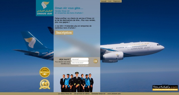Les agents de voyages qui souhaitent participer au challenge de ventes d'Oman Air doivent s'inscrire sur un mini-site dédié à l'opération et y déclarer leurs ventes - Capture d'écran