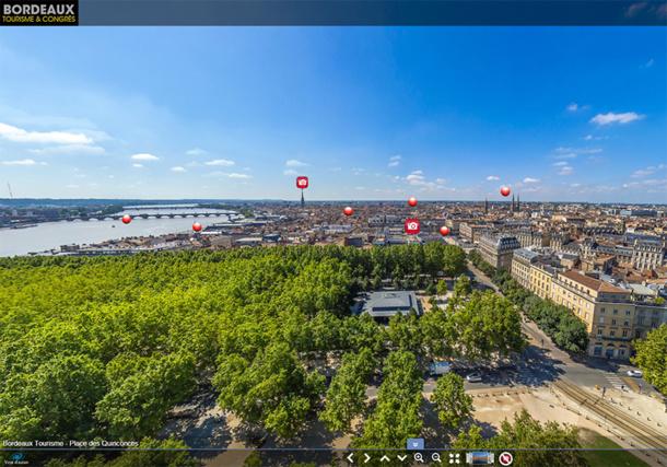 Bordeaux-tourisme.com propose une visite de la ville à 360°