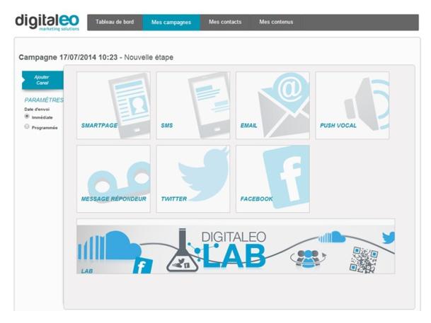 Digitaleo centralise tous les canaux du marketing relationnel digital : SMS, emailing, smartpage, store locator, QRcode, réseaux sociaux, push vocal...