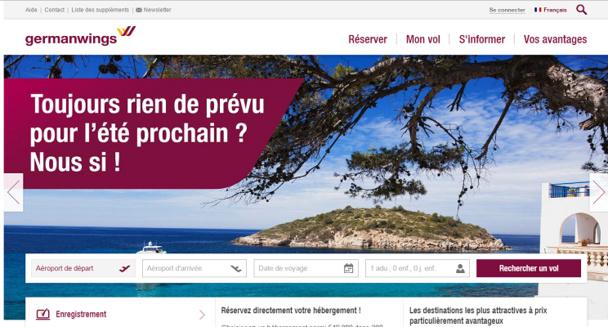 La nouvelle version du site de Germanwings se veut plus fonctionnelle et mieux structurée - Capture d'écran