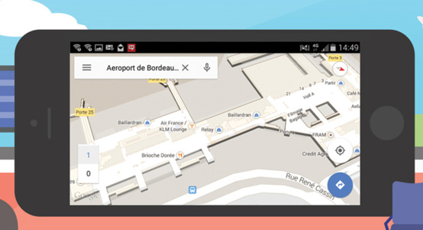 Les plans intérieurs de l'Aéroport de Bordeaux disponibles sur Google Maps