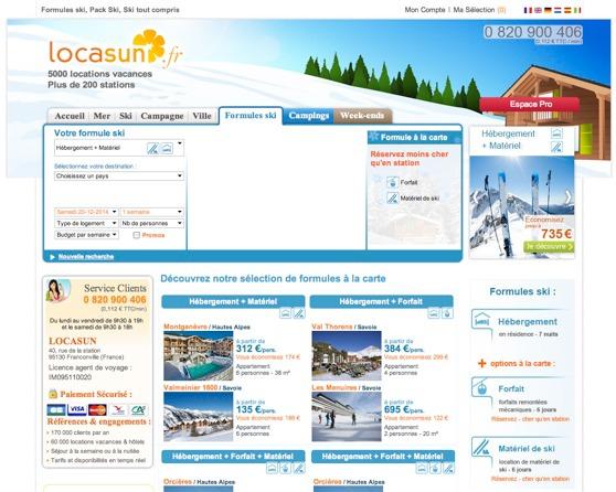 Les Formules Ski de Locasun.fr sont accessibles dans une rubrique dédiée - Capture d'écran