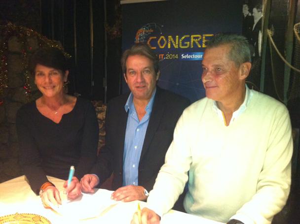 De gauche à droite : Dominique Beljanski, Présidente de la coopérative Selectour Afat, Georges Rudas, Président d'Amadeus France, et Jean-Marie Seveno, Président de Selectour Afat Entreprise - Photo C.E.