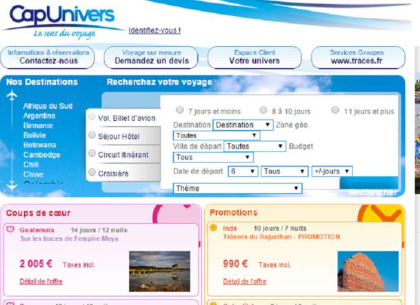 Cap Univers est la marque de voyages individuels du groupe Consult Voyages - Capture d'écran