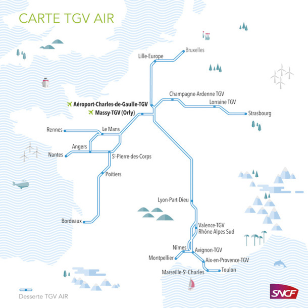 Map of cities included in the TGV AIR network - DR: SNCF