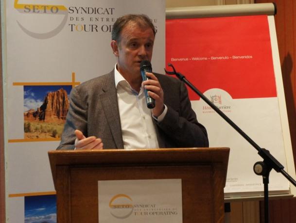 Alain Capestan, président de Voyageurs de Monde a présenté au Forum du SETO à Deauville,les propositions qui ont été formulées auprès du Cabinet de C. Delga - Photo CE