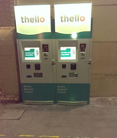 Les bornes de Thello ont été installées en Gare Saint Charles de Marseille dans la nuit de mardi 9 à mercredi 10 décembre 2014 - Photo J.D.