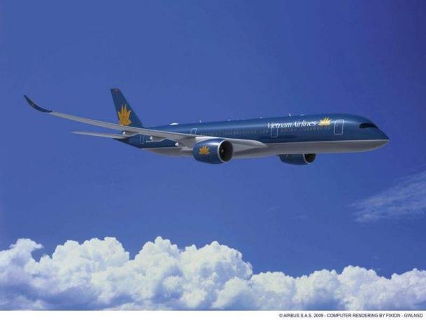 Le futur A350 de Vietnam Airlines se posera à Paris en octobre prochain. •© Airbus S.A.S. computer rendering by Fixion