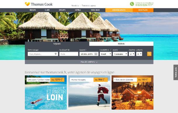 Le nouveau site Internet de Thomas Cook intègre de nombreuses images - Capture d'écran