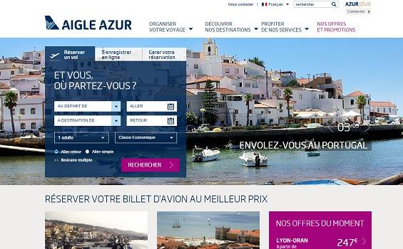Le nouveau site Internet d'Aigle Azur met en avant les destinations phares de la compagnie aérienne - Capture d'écran