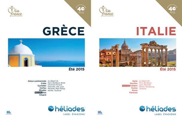 La brochure Eté 2015 d'Héliades est présentée en « tête-bêche », avec au recto l'offre Grèce et Chypre, et au verso l'offre Italie et Sicile - DR : Héliades