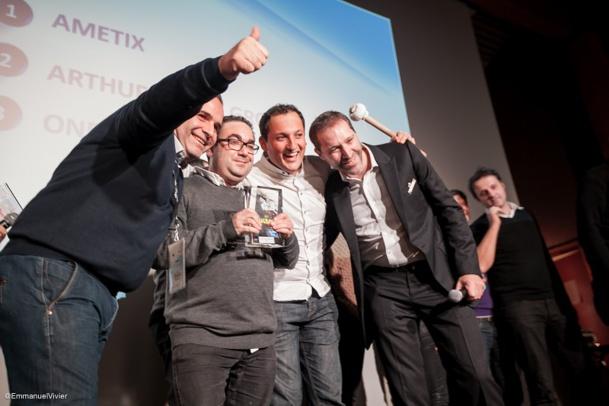 Les gagnants des BigBoss Idol, AMETIX, et Hervé Bloch, organisateur des BigBoss font du Ski - DR