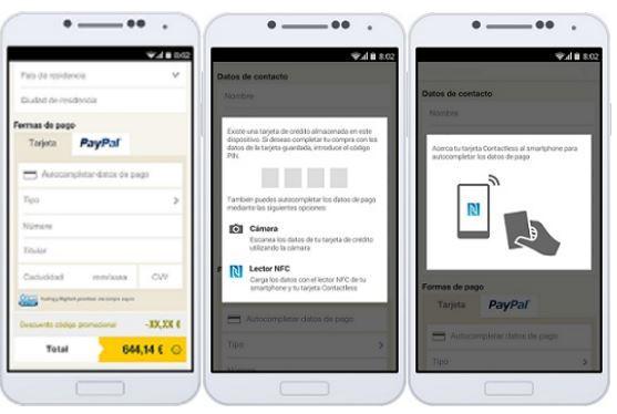Les utilisateurs peuvent entrer leurs données automatiquement avec les procédés NFC et de lecture optique supportés par le système d'exploitation Android.