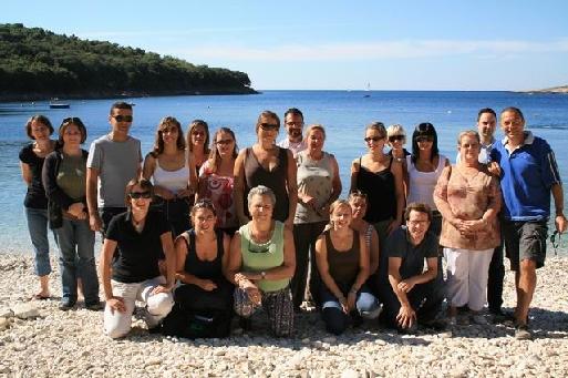 Photo souvenir sur la plage de l'hôtel Centinera à Banjole (Istrie)