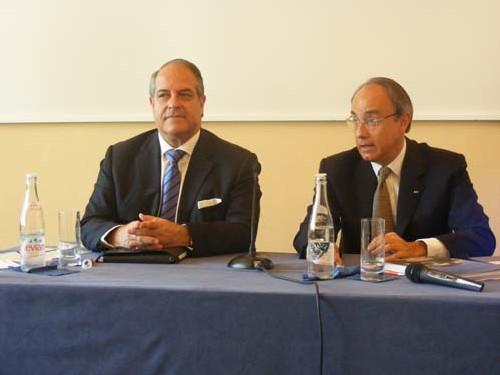 Bernard Lambert, directeur général et Jean Luc Biamonti, président de la SBM présente les perspectives de la société pour l'exercice en cours.