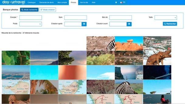 Base de donnée photos de la deuxième version de la plateforme Doyourtravel - Capture d'écran