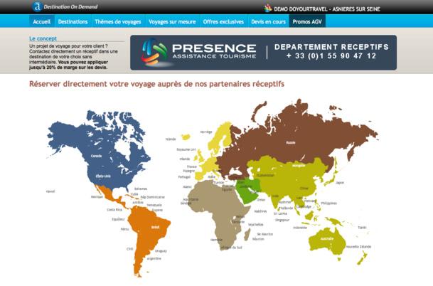 Home page du moteur destination on demand