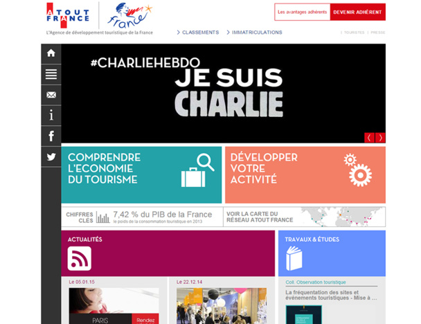 """Par solidarité, Atout France a posté le message """"Je suis Charlie"""" sur l'ensemble de ses réseaux sociaux presse et grand public en France comme à l'international - DR"""
