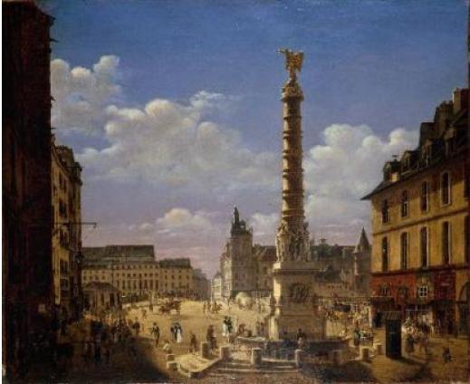 Etienne Bouhot (1780-1862), La fontaine et la place du Châtelet, 1810. Huile sur toile. 81 x 99 cm. © Stéphane Piera / Musée Carnavalet / Roger-Viollet