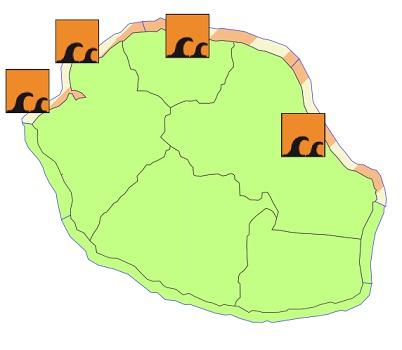 Météo France met en garde contre de fortes houles au nord et à l'Est de l'île de la Réunion - DR : Météo France