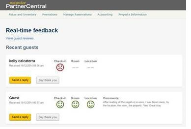 « Real Time Feedback » - capture d'écran Expedia