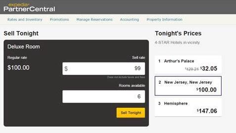 « Sell Tonight » - capture d'écran Expedia