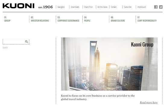 Les filiales de Kuoni Group ne font plus de tour-opérating - Capture d'écran