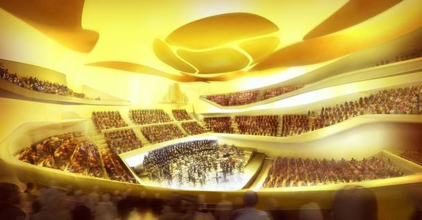 La grande salle - Philharmonie 1 - peut contenir de 2 400 places assises en configuration symphonique à 3 500 places en configuration parterre debout © Philharmonie de Paris – Didier Ghislain