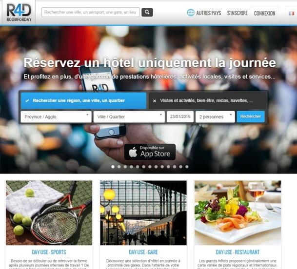 Avec aujourd'hui, plus de 500 hôtels, répartis en Europe, le site permet à des milliers de personnes d'utiliser les services complets d'un hôtel, de bénéficier d'activités touristiques en journée et à des tarifs remisés. DR Capture d'écran www.roomforday.com