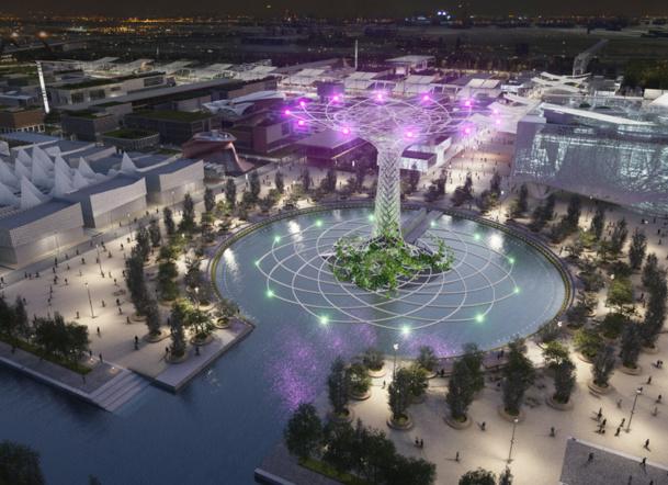 Aux quatre points cardinaux seront placés les principaux éléments iconiques : la colline méditerranéenne, l'Open Air Theatre, le Lac Arena et l'Expo Centre, des points de référence qui orienteront les visiteurs et accueilleront les grands évènements de l'exposition - Photo Lac Arena Expo Milano 2015
