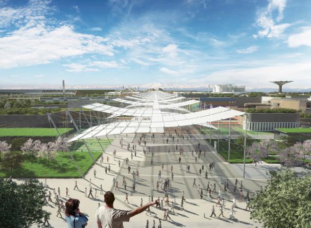 """Un espace de 1 million de m2 conçu comme une ancienne cité romaine, bordée d'un canal et traversée par un axe central de 1.5 km, véritable """"Avenue du Monde"""" - Photo DR Expo Milano 2015"""