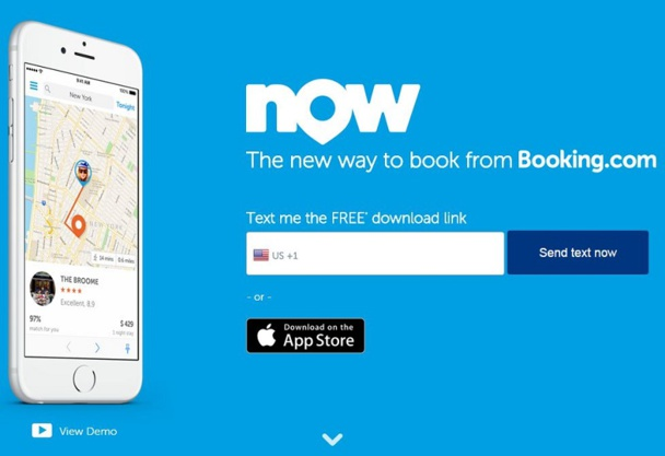 Booking Now est une application mobile pour les voyageurs qui permet de réserver parmi un large choix sous moins de 48 heures.  DR capture d'écran booking.com