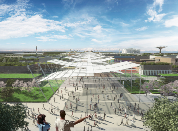 "A space of 1 million square meters conceived like an ancient Roman city, bordered by a canal and crossed by a central axis of 1.5km, a true ""World Avenue"" - Photo DR Expo Milano 2015"