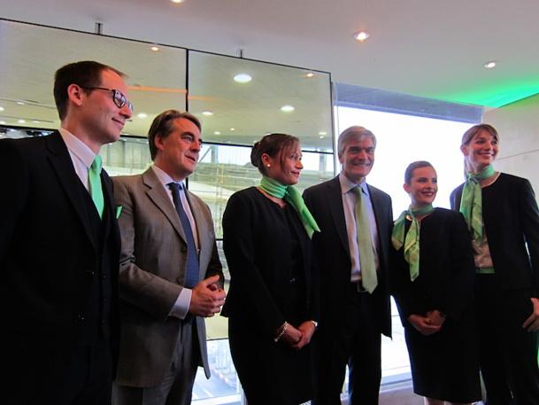 Alexandre de Juniac, le PDG d'Air France KLM est venu assister à la présentation de la nouvelle identité de sa filiale low-cost Transavia avec le PDG Antoine Pussiau. DR-LAC