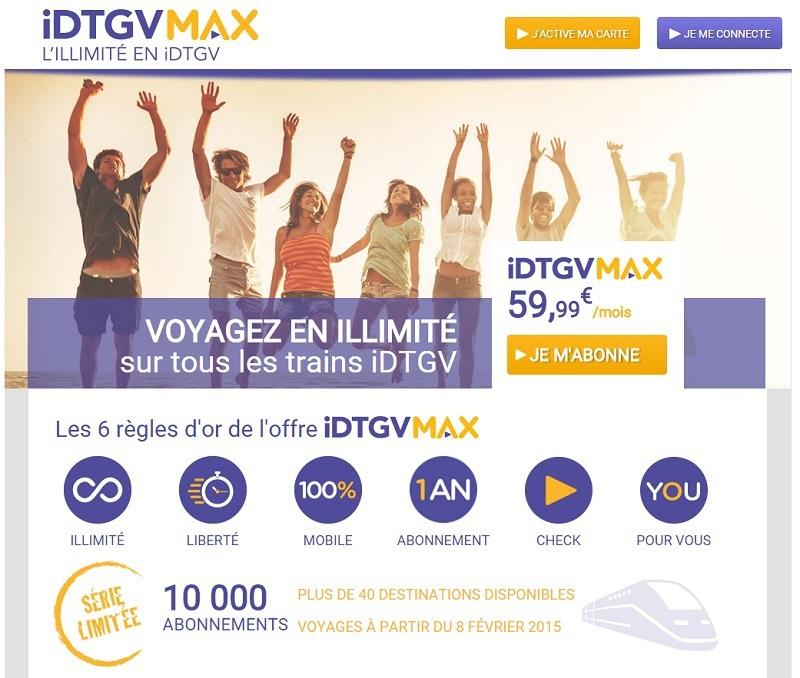 IDTGVMax est un service mobile sur 100% des trains. © IDTGV