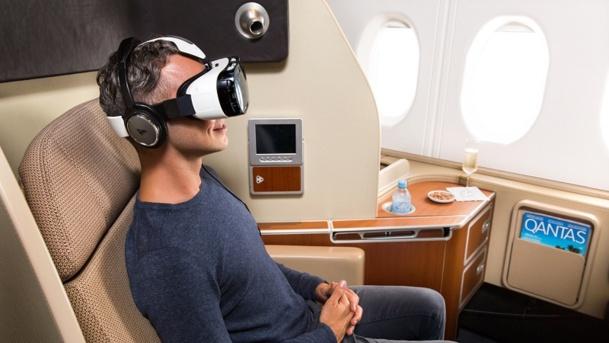Qantas équipe certains de ses vols long courrier de casques de réalité virtuelle Samsung © Qantas